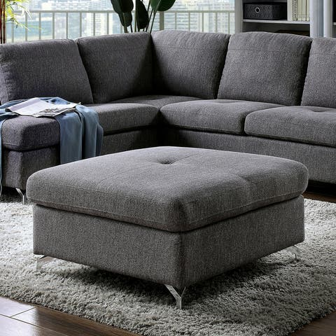 Furniture of America Jorgensen Square Grey Ottoman
