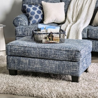 Furniture of America Sorz Contemporary Fabric Upholstered Ottoman