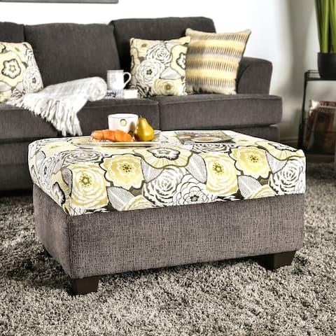 Furniture of America Adeline Grey Chenille Ottoman