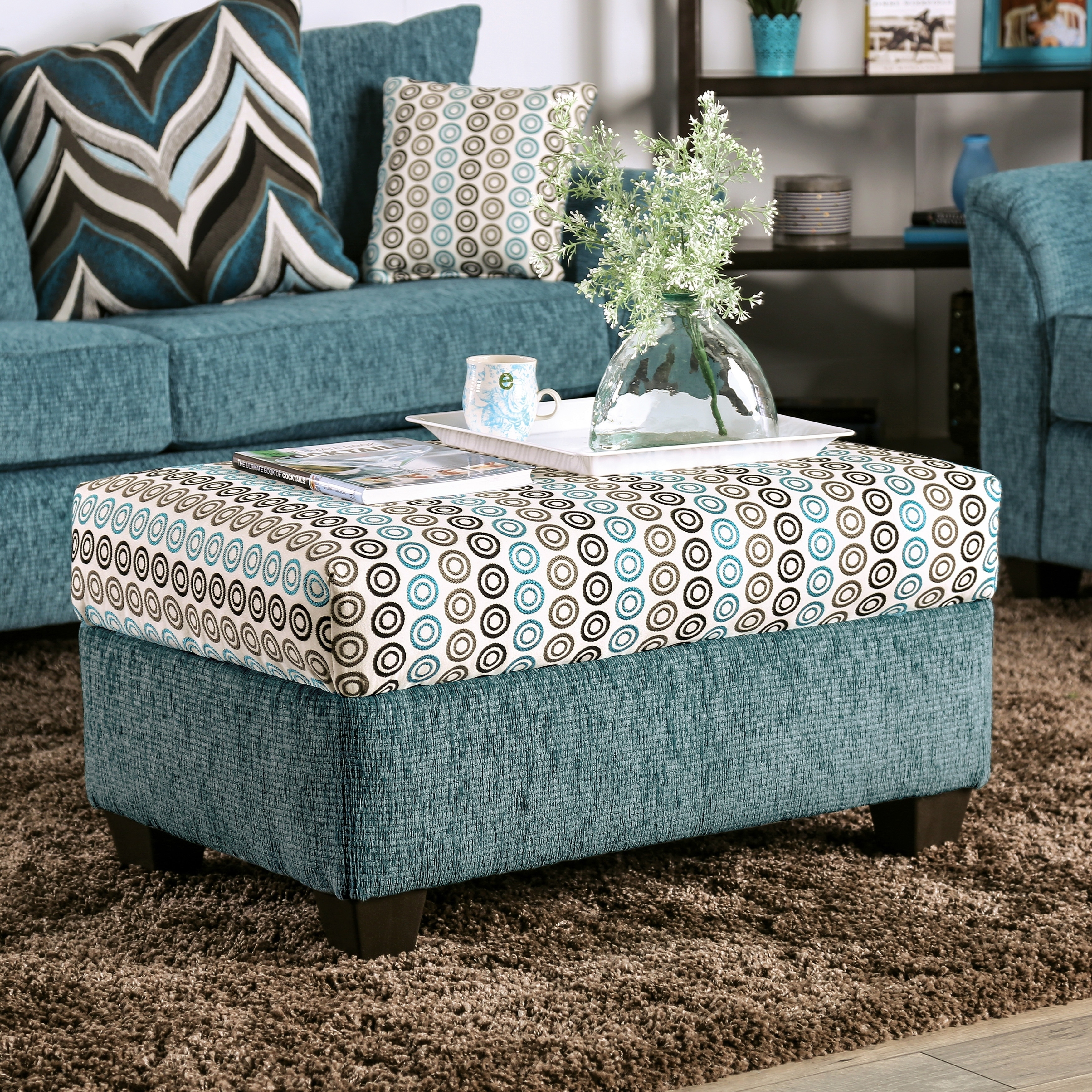 Furniture Of America Pae Contemporary Blue Chenille Padded Ottoman