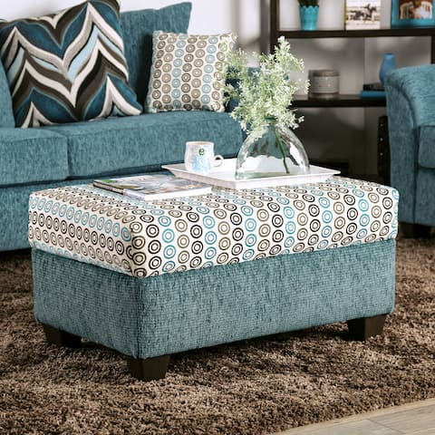Pacheco Contemporary Turquoise Ottoman by FOA
