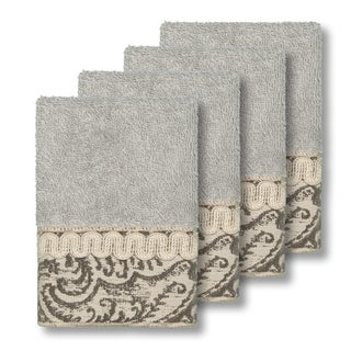 Authentic Hotel and Spa Turkish Cotton Paisley Jacquard Light Grey 4-piece Washcloth Set