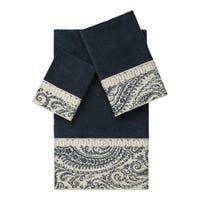 Authentic Hotel and Spa Turkish Cotton Paisley Jacquard Midnight Blue 3-piece Towel Set