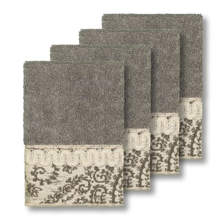 Authentic Hotel and Spa Turkish Cotton Paisley Jacquard Dark Grey 4-piece Washcloth Set