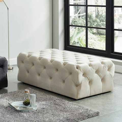 Nadia IV Transitional Tufted Rectangular Ottoman by FOA