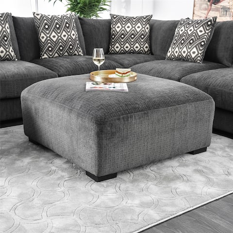 Cleo Transitional Grey Square Ottoman by FOA