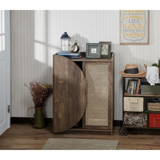 Furniture of America Santee Rustic Shoe Storage Cabinet