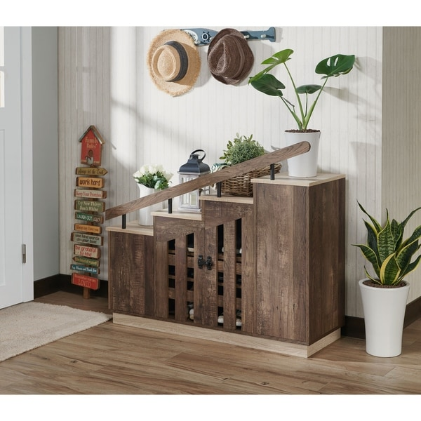 Furniture of America Garner Rustic Shoe Storage Cabinet