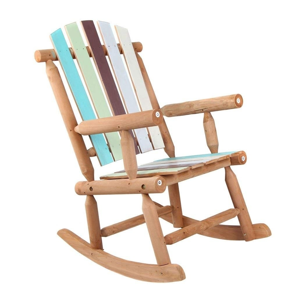 Peachy Wooden Rocking Chair Large Space Colorful Painted For Patio Garden Bralicious Painted Fabric Chair Ideas Braliciousco