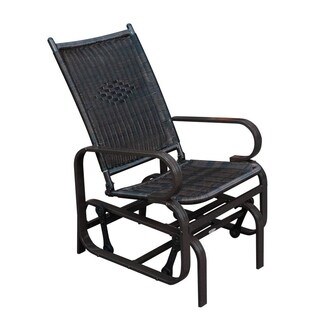 SunLife Porch Patio Glider Rocking Chair,PE Rattan Wicker Steel Frame