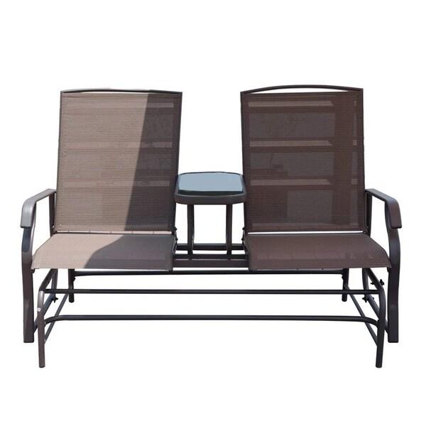 Patio Furniture Loveseat Glider.Shop Havenside Home Antigonish Solid 2 Seat Patio Loveseat Glider