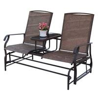 Outdoor 2 Person Patio Loveseat Glider Chair w/Center Table