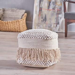 Anton Boho Cotton Pouf by Christopher Knight Home