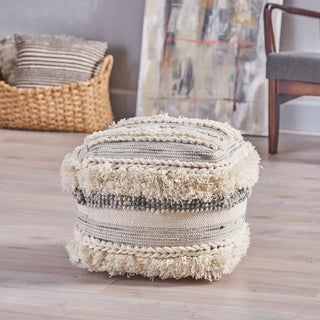 Cacey Boho Wool Pouf by Christopher Knight Home