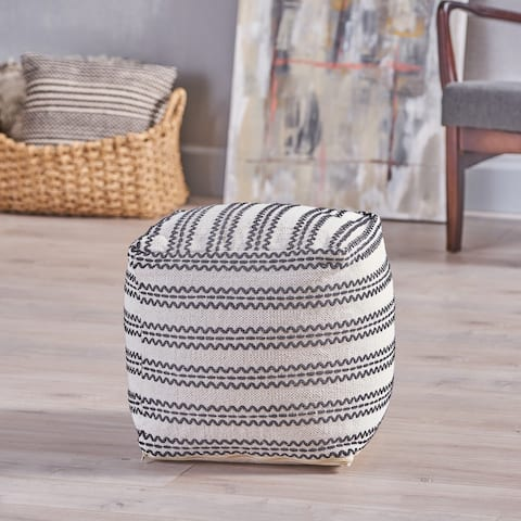 Layne Boho Cotton Pouf by Christopher Knight Home