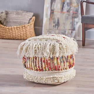 Proto Boho Wool Pouf by Christopher Knight Home