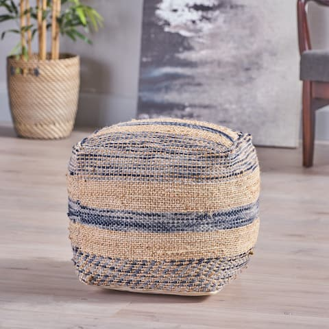 Caiman Boho Hemp and Wool Pouf by Christopher Knight Home