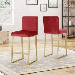 Link to Toucanet Modern Velvet Barstools (Set of 2) by Christopher Knight Home Similar Items in Dining Room & Bar Furniture