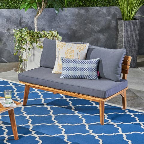 Balmoral Outdoor Acacia Wood Loveseat by Christopher Knight Home