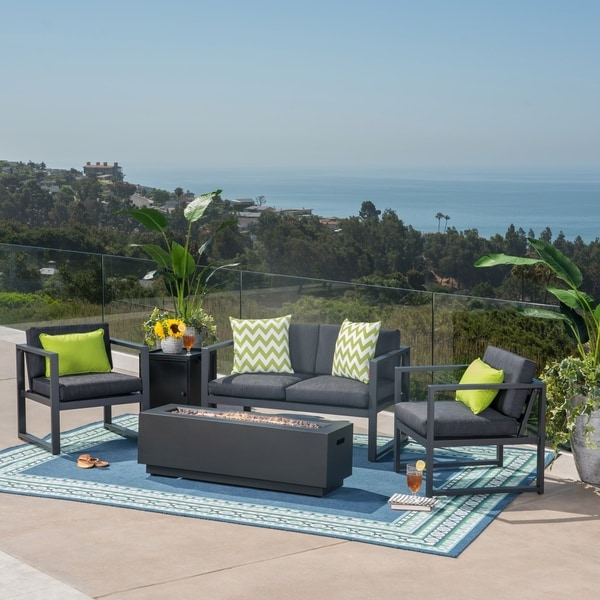 Shop Carver Outdoor 4 Seater Aluminum Chat Set With Fire Pit And