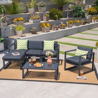 Navan Outdoor 4-Seater Aluminum Sofa Set with Ottoman and Coffee Table by Christopher Knight Home