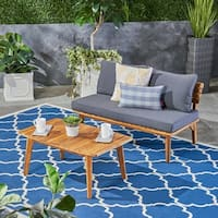 Balmoral Outdoor Acacia Wood Loveseat and Coffee Table by Christopher Knight Home