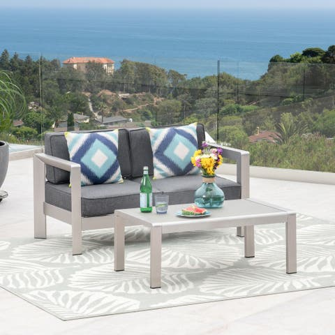 Aviara Outdoor Aluminum Loveseat and Tempered Glass-Topped Coffee Table by Christopher Knight Home