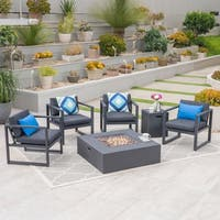 Carver Outdoor 4-Seater Aluminum Chat Set with Fire Pit and Tank Holder by Christopher Knight Home