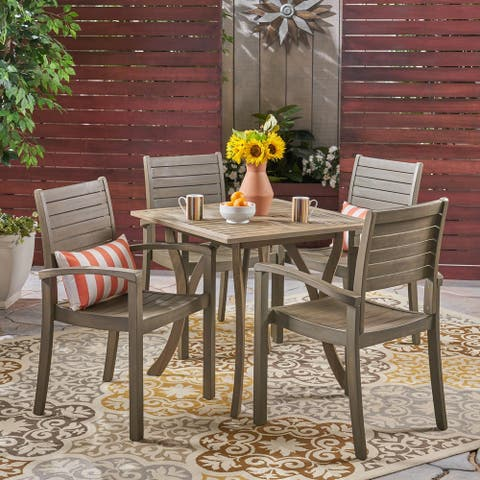 York Outdoor 4-Seater Square Acacia Wood Dining Set by Christopher Knight Home