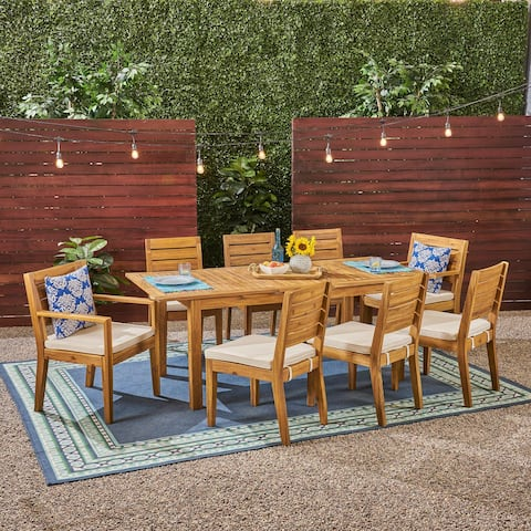 Nestor Outdoor 6-Seater Acacia Wood Expandable Dining Set by Christopher Knight Home