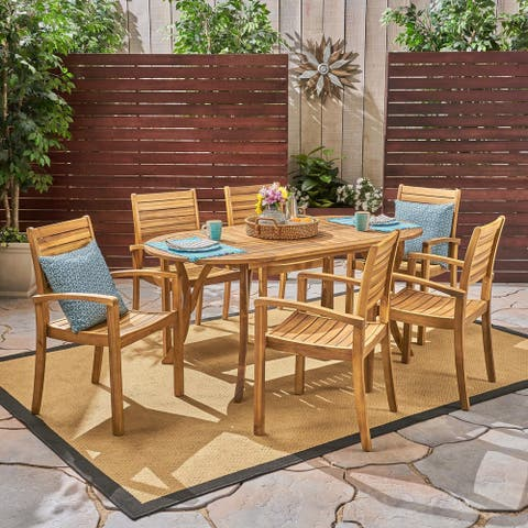 Holloway Outdoor 6-Seater Oval Acacia Wood Dining Set by Christopher Knight Home