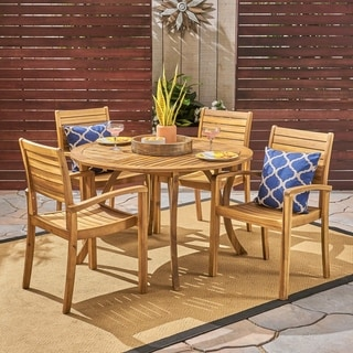 Wells Outdoor 4-Seater Round Acacia Wood Dining Set by Christopher Knight Home