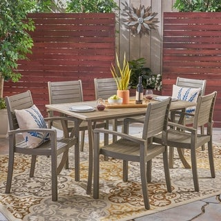 Anchor Outdoor 6-Seater Rectangular Acacia Wood Dining Set by Christopher Knight Home