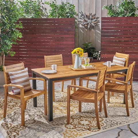 Barstow Outdoor 6-Seater Rectangular Acacia Wood Dining Set by Christopher Knight Home