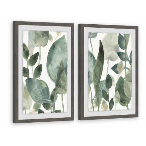 Marmont Hill - Handmade Water Leaves VI Diptych - Multi-color