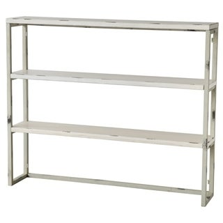 Distressed Metal Shelf With Three Tier, White