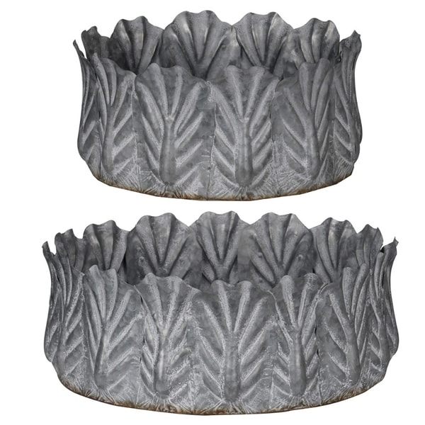 Galvanized Metal Bowls With Embossed Design, Gray, Set of 2