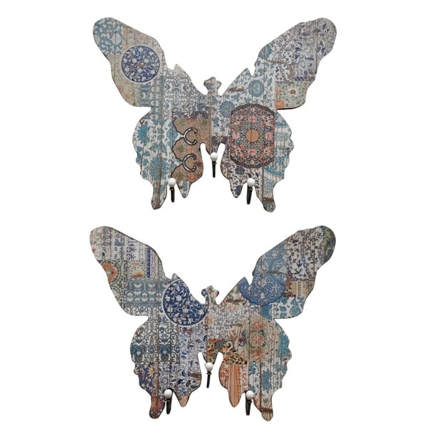 Butterfly Shape MDF and Metal Wall Decor With 3 Hooks, Multicolor, Set of 2