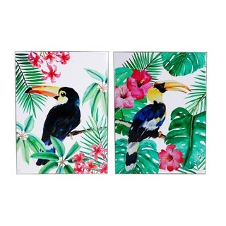 Toucan Wall Art On Wooden Base, Multicolor, Set of 2