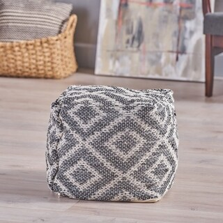 Curtis Boho Rubber and Yarn Pouf by Christopher Knight Home