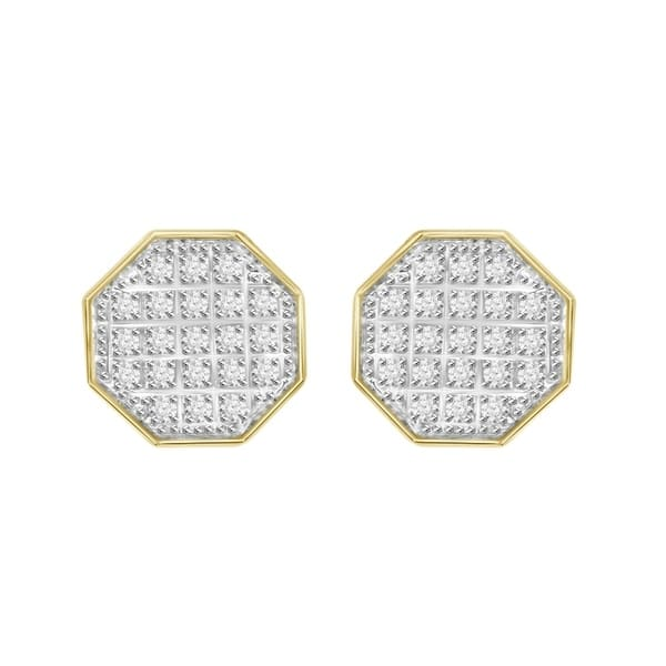 f8dc75bd2 1/6 cttw Round Natural Diamond Octagon Shape Unisex Stud Earrings 10K  Yellow Gold
