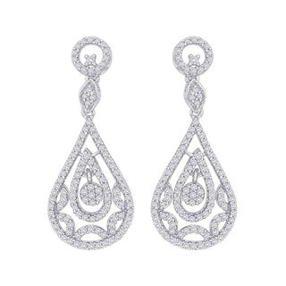 14k White Gold 1ct TDW Diamond Chandelier Drop Earrings (I-J, I1)