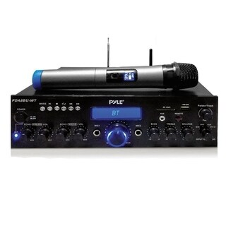 Pyle 200W Compact Home Theater Amplifier Stereo with Bluetooth Wireless Streaming, UHF Wire