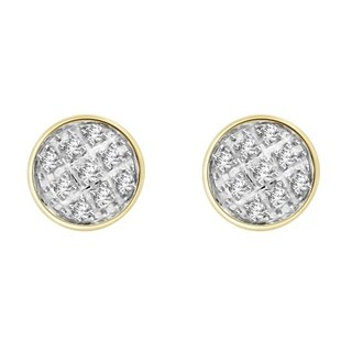 0.05 cttw Round Natural Diamond Accent Dome Round Shape Unisex Stud Earrings 10K Yellow Gold