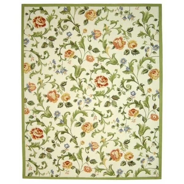 "Safavieh Hand-hooked Garden of Eden Ivory Wool Rug - 7'9"" x 9'9"""
