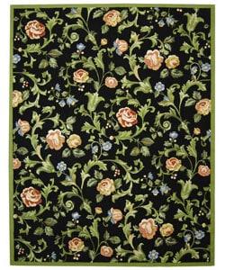 Safavieh Hand-hooked Garden of Eden Black Wool Rug - 7'9 x 9'9 - Thumbnail 0