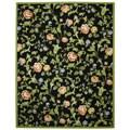 Safavieh Hand-hooked Garden of Eden Black Wool Rug - 7'9 x 9'9