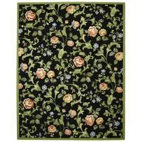 """Safavieh Hand-hooked Garden of Eden Black Wool Rug - 7'9"""" x 9'9"""""""