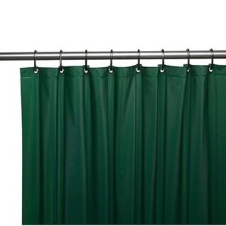 "Solid Vinyl Shower Curtain with Hooks Hunter Green 70"" x 72"""
