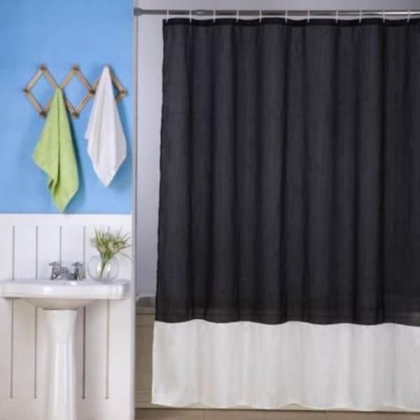 Solid Vinyl Shower Curtain Black Ivory 72